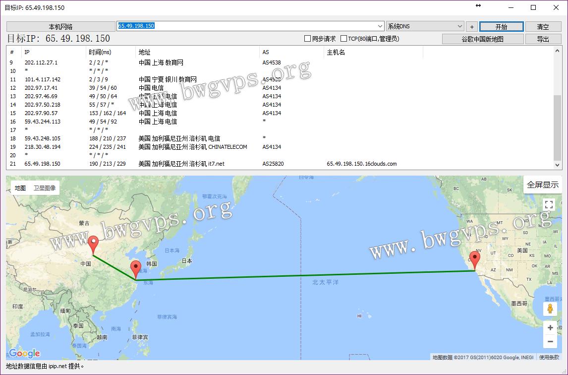 利用BestTrace路由追踪查看BandwagonHost搬瓦工VPS的去程和回程