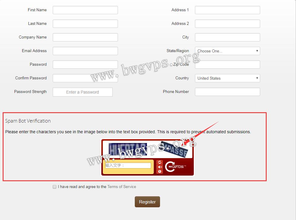 注册BandwagonHost搬瓦工VPS不显示验证码的解决方法